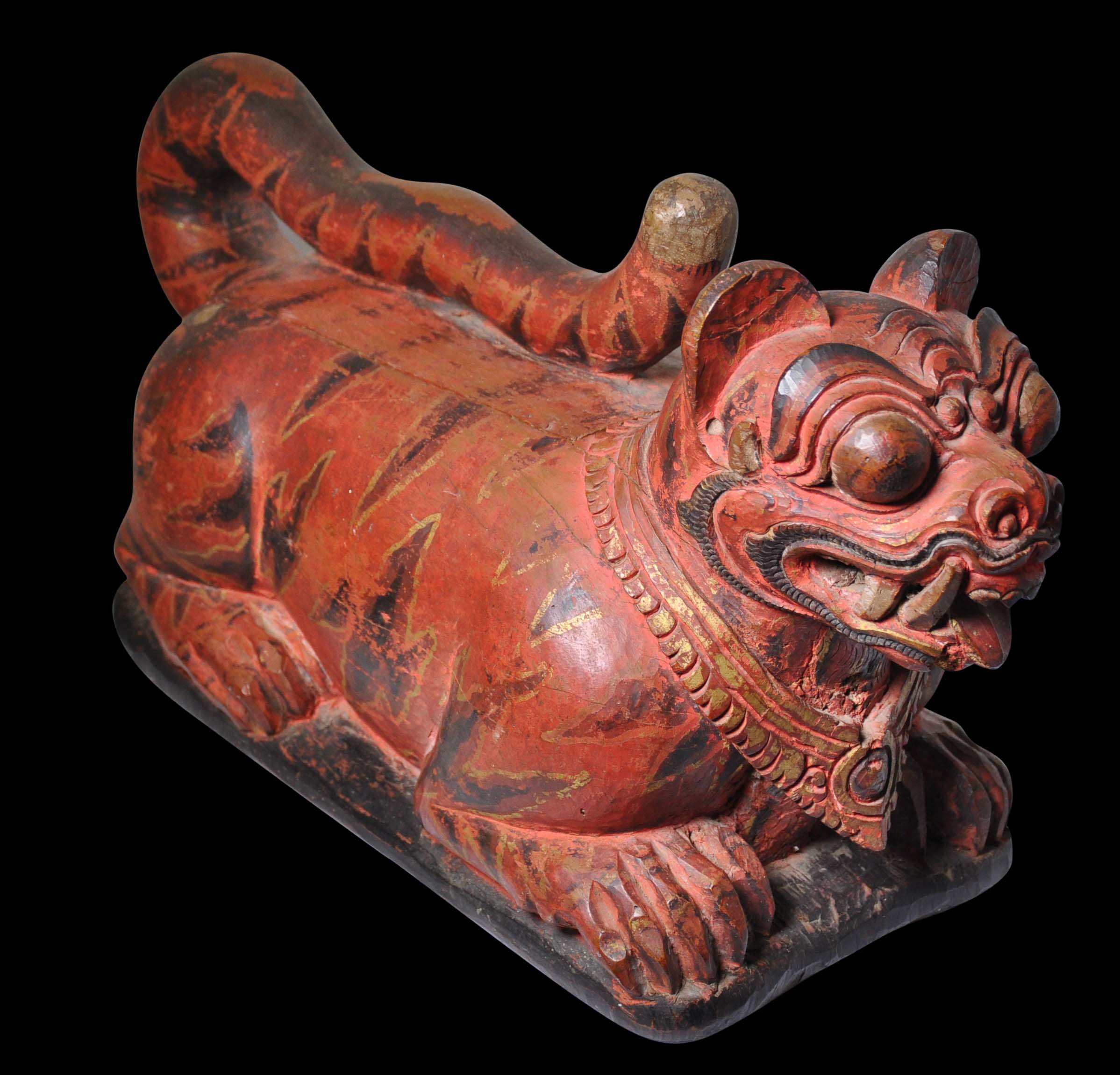 Balinese Carved Wooden Offering Box Shaped As A Tiger Sajen