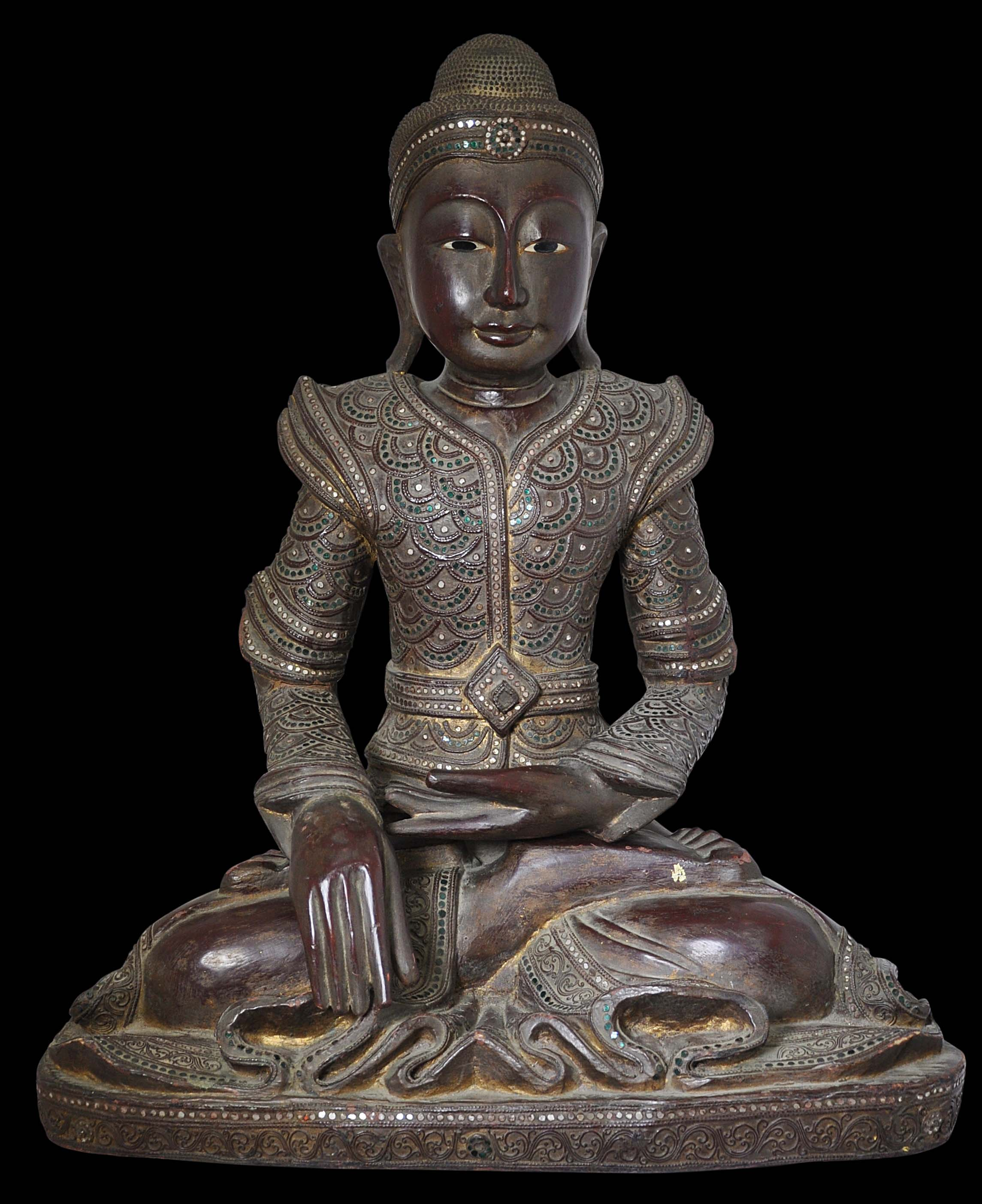 Large, Lacquered Wooden Buddha - Michael Backman Ltd