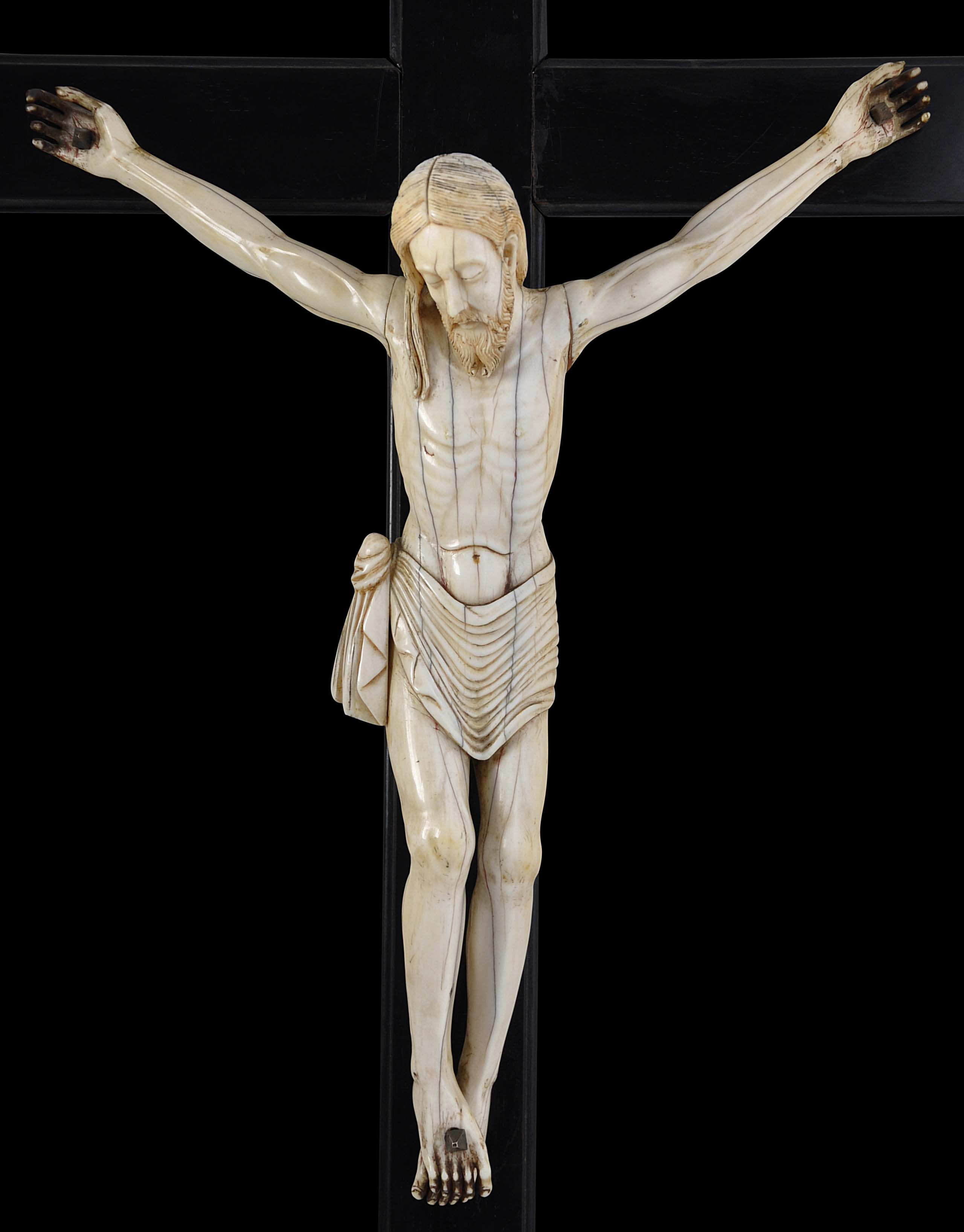 Decoration Tibet Silver Hand-Carved Jesus Delicate Cross Statue